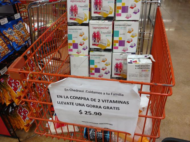 Chedraui Lankin : Dos piezas de Vitamin Water y Gorra de Regalo
