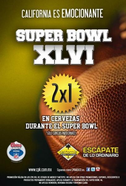 California Pizza Kitchen: 2x1 en cervezas durante el Super Bowl