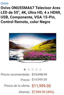 "Black Friday 2016 Amazon: Ovivo ONU55MA67 Televisor Ares LED de 55"", SMART TV, 2016, 4K, Ultra HD, 4 x HDMI, USB, Componente, VGA 15-Pin, Control Remoto, color Negro,"