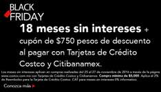 Black Friday 2016 en Costco: 18 MSI + cupón $750 con Citibanamex