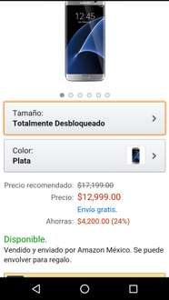 Black Friday 2016 Amazon México: Samsung Galaxy S7 Edge Smartphone, Pantalla AMOLED, 5.5 Pulgadas, color plata $12,999