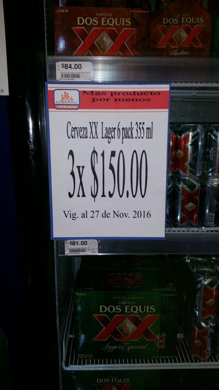 Chedraui Plaza Crystal, Villahermosa, Tabasco: 3 six de XX Lager por $150