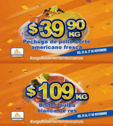 Chedraui: Fin de semana de Carnes: Pechuga de pollo corte americano fresca $39.90 kg; Bistec pulpa blanca de res $109 kg.