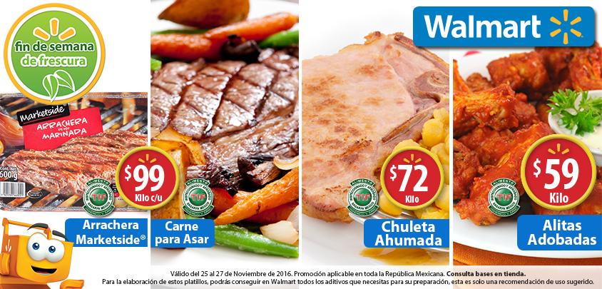 Walmart: Fin de semana de Frescura: Alitas Adobadas $59 kg; Chuleta Ahumada $72 kg; Carne para Asar kg. ó Arrachera Marketside pza. $99
