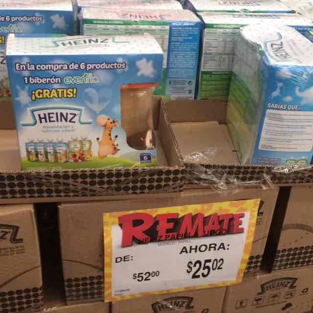 Bodega Aurrerá: Papillas para los bebos Heinz 6 pz más biberón gratis por $25