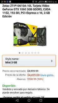 Black Friday en Amazon México: gtx 1060 $4,499 y $4,049 con bancomer