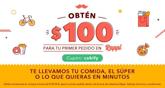 Rappi: $100 de regalo para tu primer pedido en Rappi con cupón: cabify