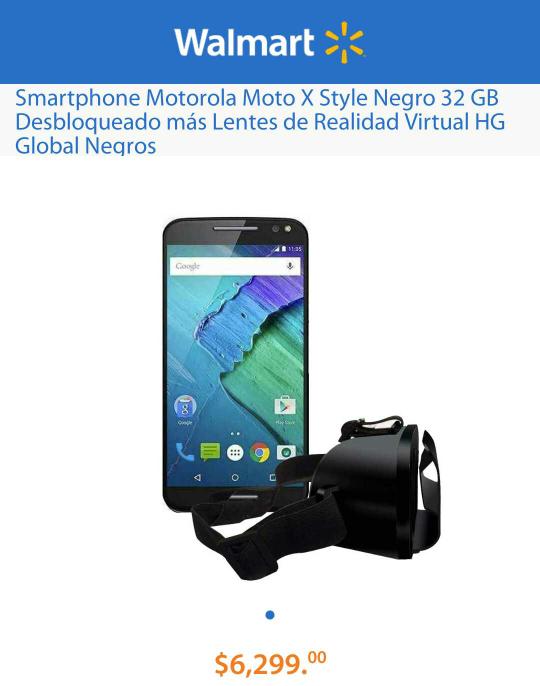 Walmart: Moto X Style Negro 32 GB Desbloqueado más Lentes de Realidad Virtual HG