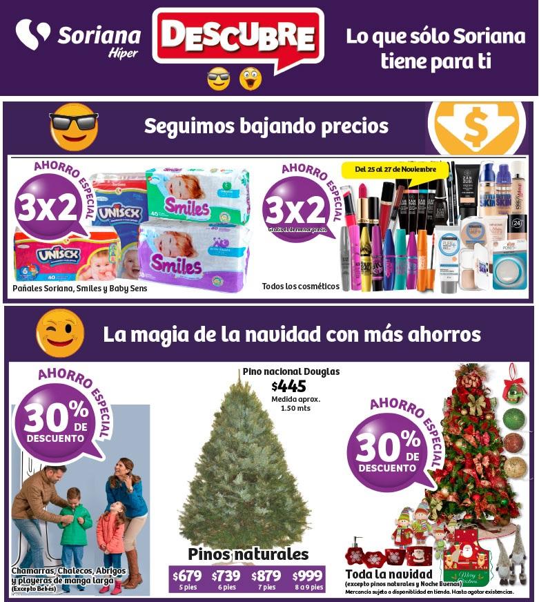 Soriana Híper: 3 x 2 en todos los cosméticos y en pañales Soriana, Smiles y Baby Sens; 30% de descuento en chamarras, chalecos, abrigos y playeras de manga larga y en toda la navidad