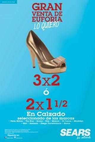 Sears: 3x2 o 2x1 1/2 en selección de zapatos