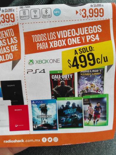 Radioshack: todos los juegos de Xbox One y PS4 a $499