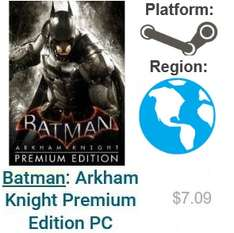 CDKeys: Batman: Arkham Knight Premium Edition PC $7.09 dolares