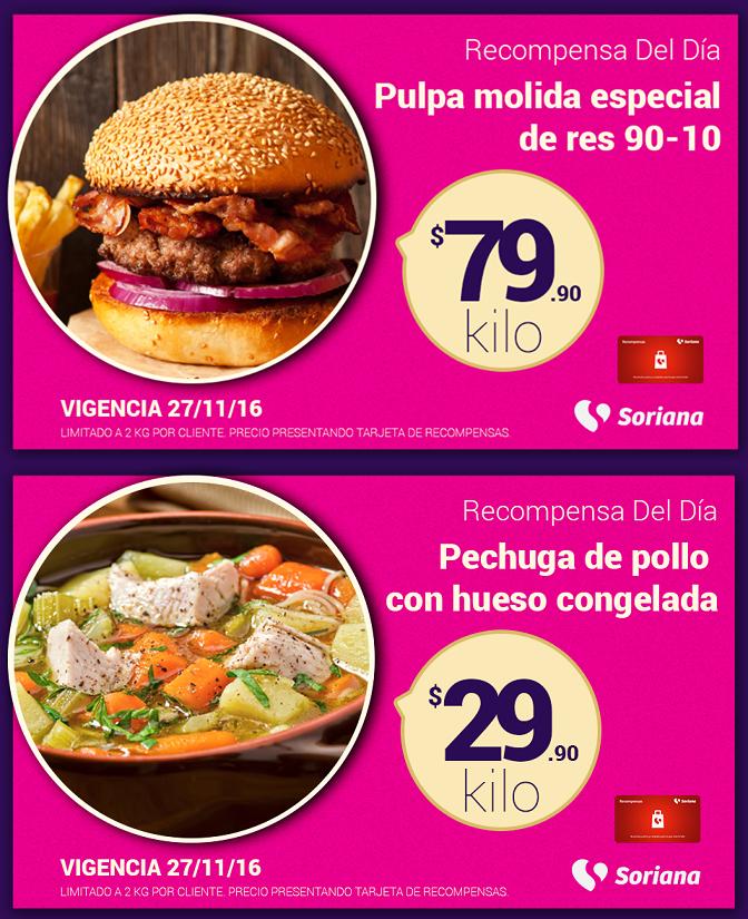 Soriana Híper y Súper: Recompensas Domingo 27 Noviembre: Pulpa molida especial de res 90-10 $79.90 kg. y Pechuga de pollo con hueso congelada $29.90 kg.