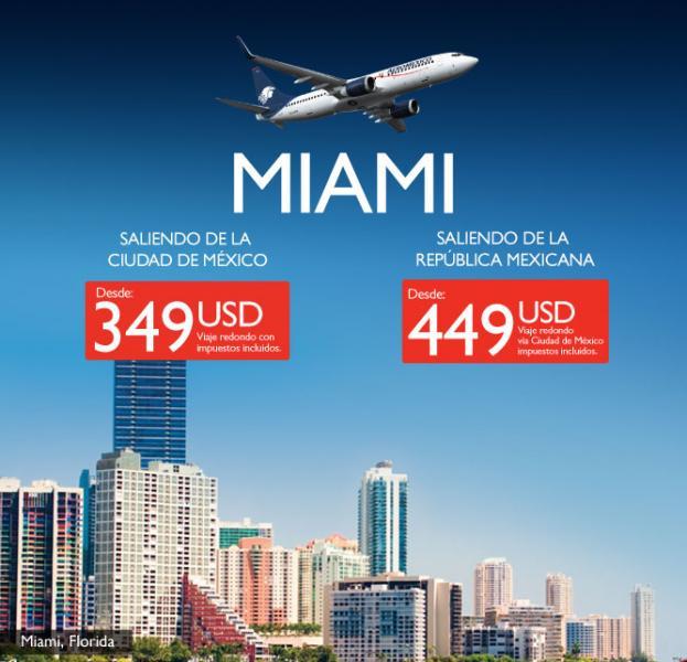 Aeroméxico: vuelo redondo a Miami desde 349 dólares