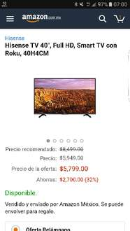 "Amazon: Hisense TV 40"", Full HD, Smart TV con Roku, 40H4CM"