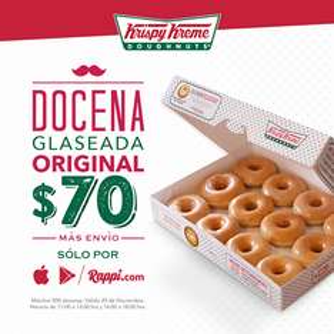 Rappi: docena de donas glaseadas Krispy Kreme por $70 (martes 29 de noviembre)