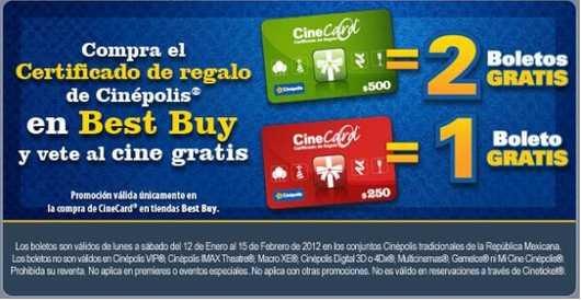 2 boletos gratis para Cinépolis comprando el gift card en Best Buy