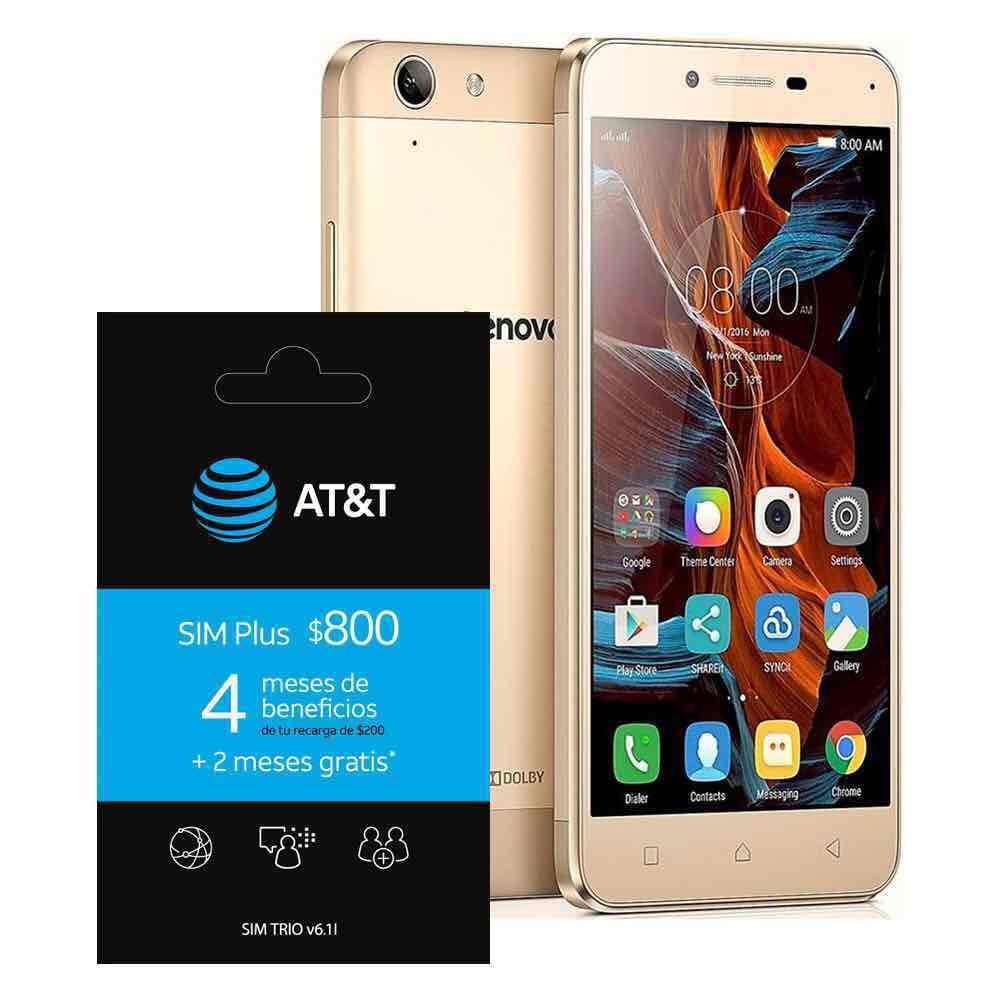 Walmart: Lenovo K5 Special Edition Dorado + Sim plus $800 AT&T (6 meses con 1.2 GB mensual de internet, llamadas y mensajes ilimitados).