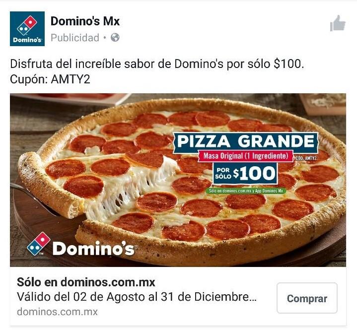 Domino's Pizza Monterrey: $100 pizza grande un ingrediente con cupón AMTY2