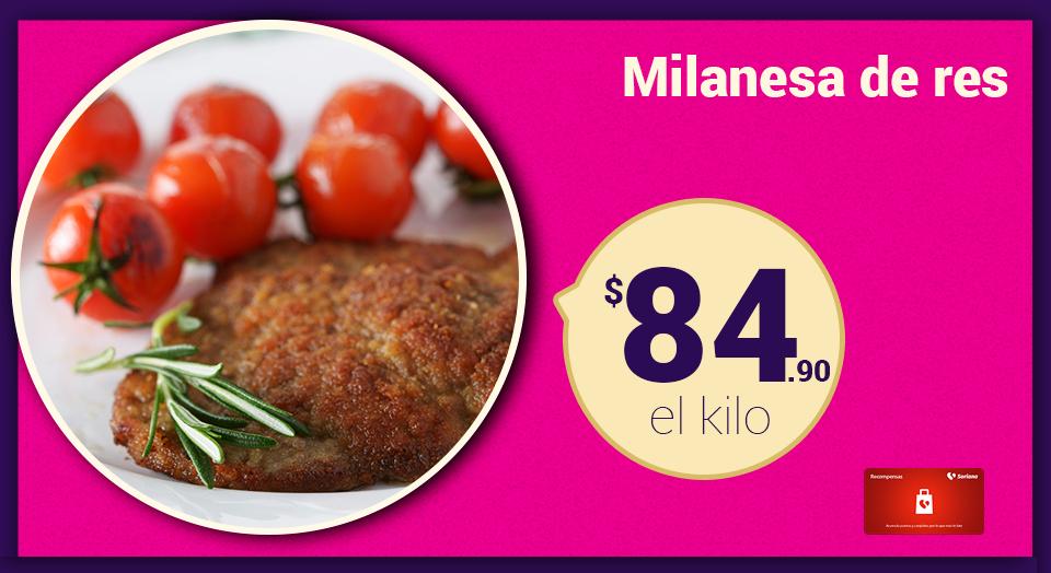 Soriana Híper y Súper: Recompensa Lunes 28 Noviembre: Milanesa de Res $84.90 kg.