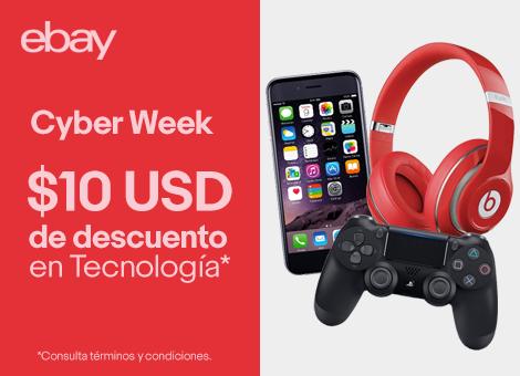 ebay Cyber Monday: cupón de $10 dólares de descuento en tecnología