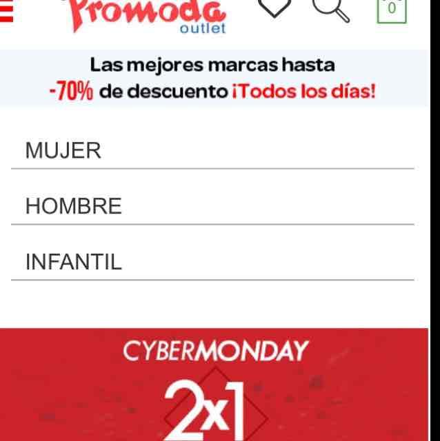 Cyber Monday 2016 Promoda: 2x1 en toda la tienda