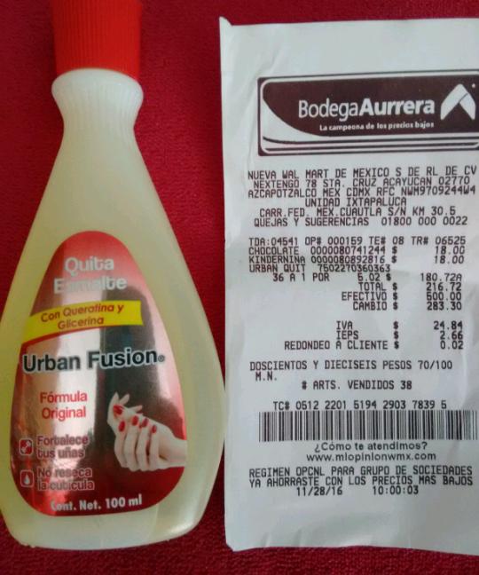 Bodega Aurrerá Ixtapaluca: Acetona Fusion de 100 ml. a $5.02