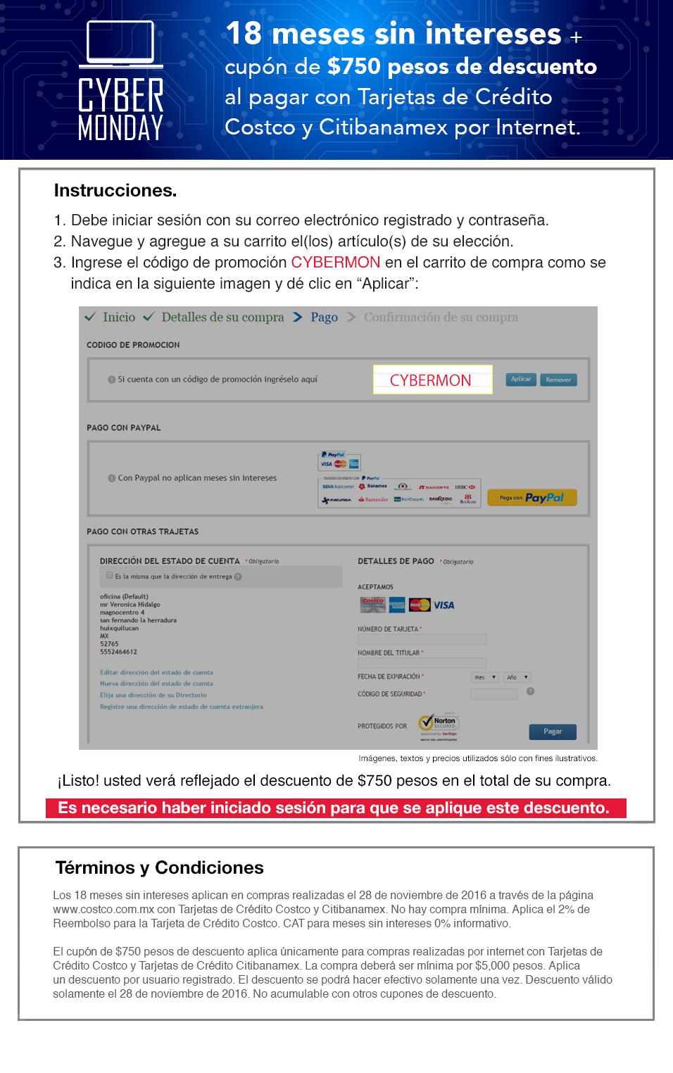Cyber Monday 2016 Costco: $750.00 de descuento en compras de 5 mil o más + 18 meses sin intereses