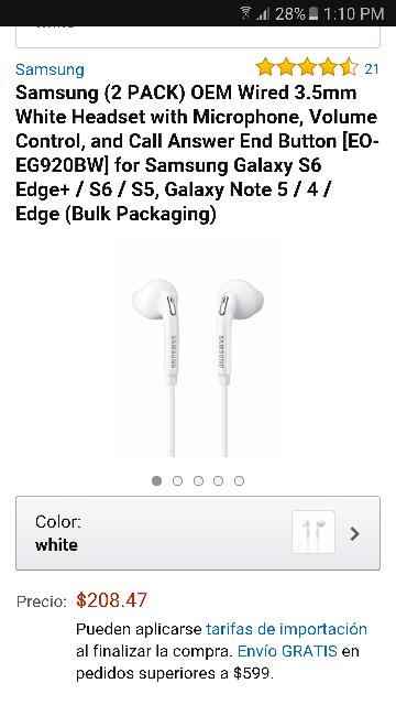 Cyber Monday 2016 Amazon: Samsung 2 pack audifonos manos libres para s6 EO-EG920BW