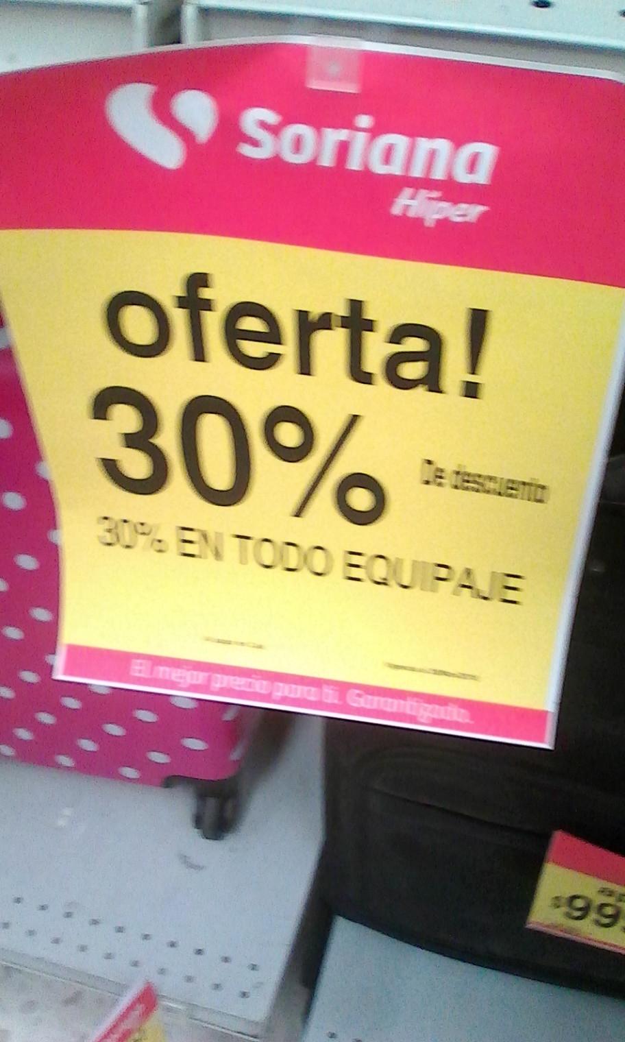 Soriana: todo el equipaje con descuento del 30%