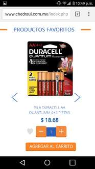 Chedraui Lago de Guadalupe: pilas Duracell AA a $18.68
