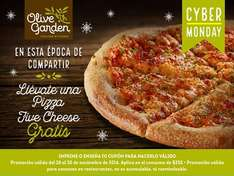 Olive Garden: Pizza Five Cheese gratis consumiendo $250 o mas