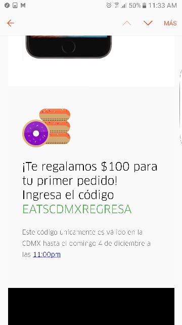 Uber Eats CDMX: código de $100 de descuento