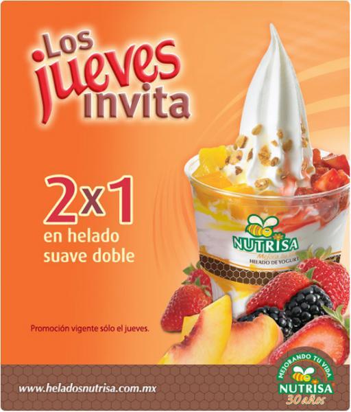 Nutrisa: 2x1 en helado suave doble los jueves