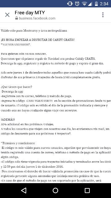 Cabify Monterrey: 5 trayectos de hasta $100  gratis -usuarios nuevos-