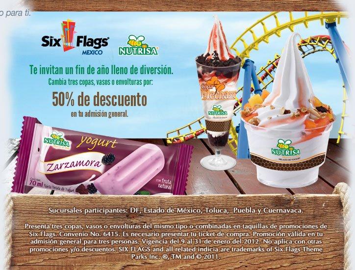 Six Flags: 50% de descuento al llevar 3 vasos, copas o envolturas de Nutrisa