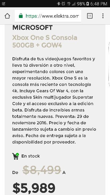 Elektra: Consola Xbox One S 500GB + GOW4 a $5,989
