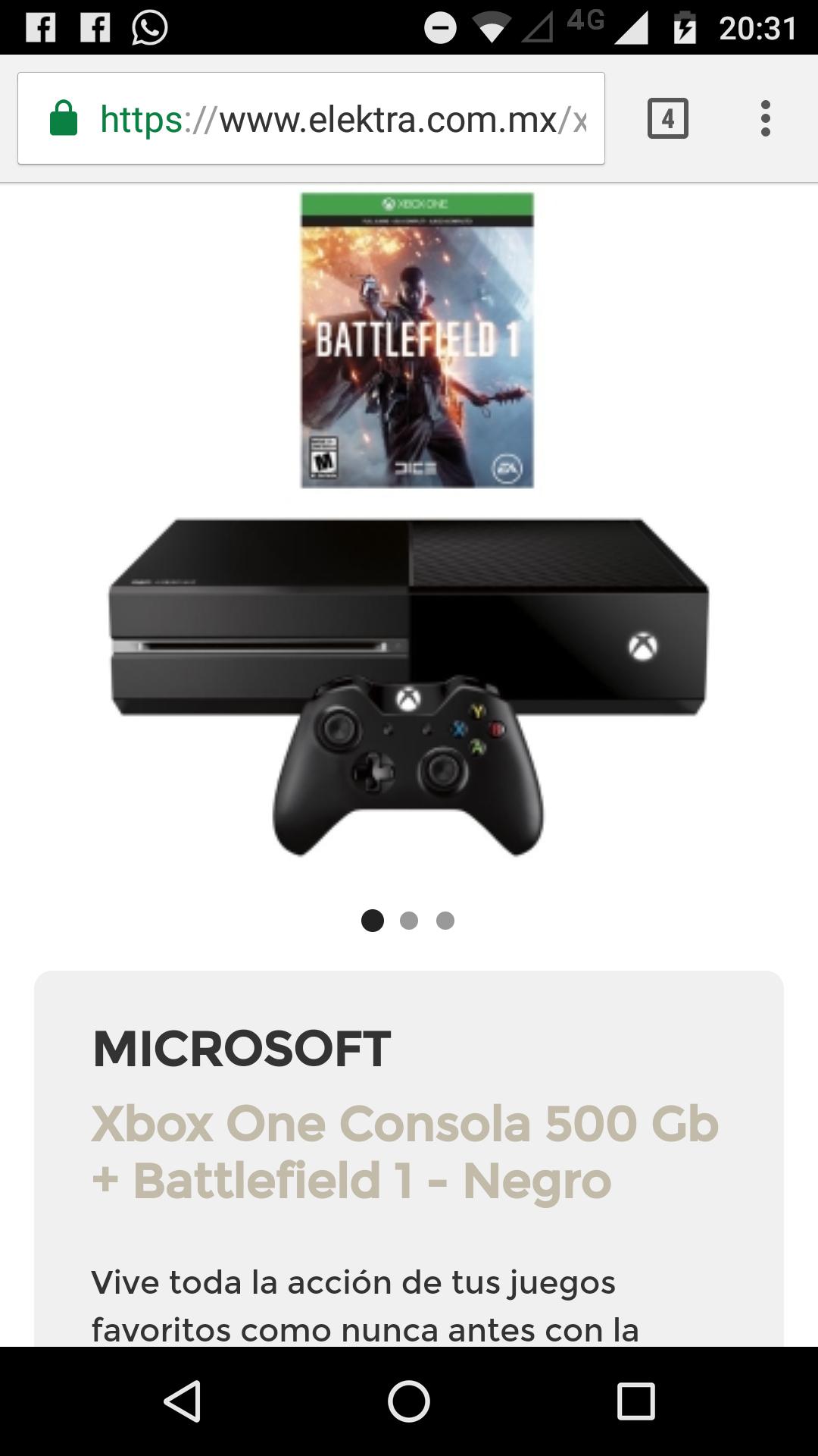 Elektra: Xbox One 500GB con Battlefield 1, Gears 4 ó FIFA 17 en $4,989