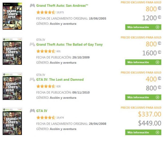 Xbox Live: descuentos en juegos y contenido de Grand Theft Auto