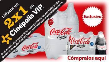 Superama: 2x1 en Cinépolis VIP comprando Coca Cola Light