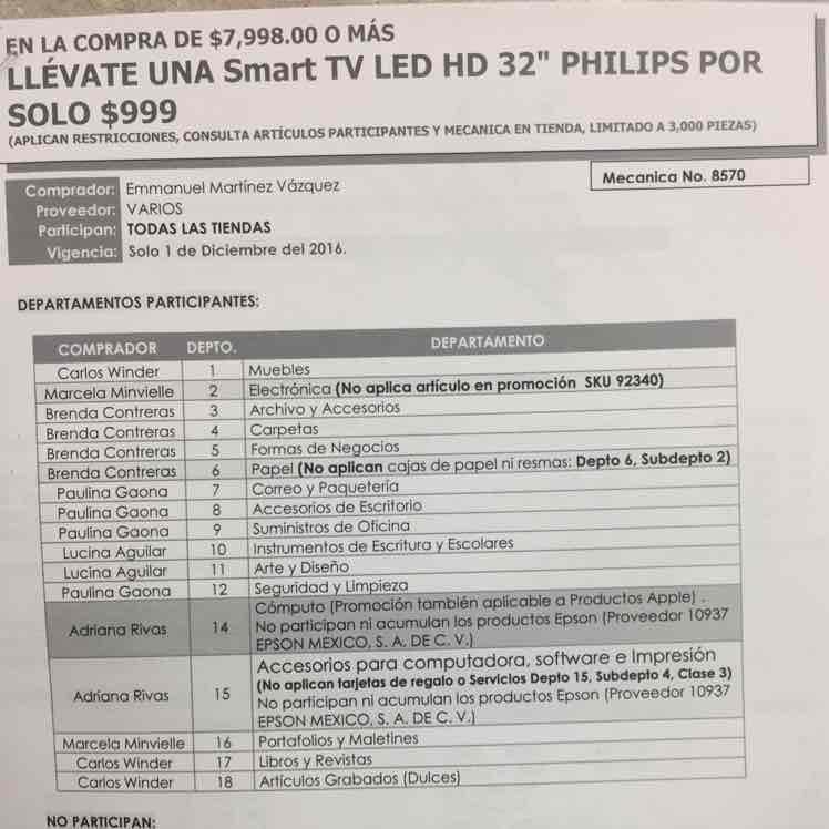 Venta Nocturna Office Max: Televisión Philips 32' $999 en la compra de $7,998 o más y MSI con todas las tarjetas