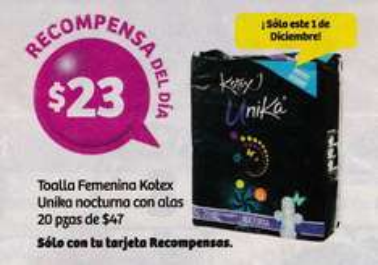 Soriana Híper y Súper: Recompensa Jueves 1 Diciembre: Toalla Femenina Kotex Unika Nocturna con alas 20 pzs. $23