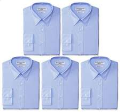 Amazon: 5 Camisas por $600 (varias tallas y combinaciones blanco y azul)