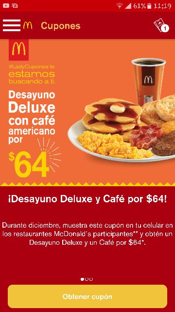 App McDonalds con cupones y productos gratis