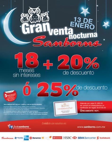 Venta Nocturna Sanborns 13 de enero