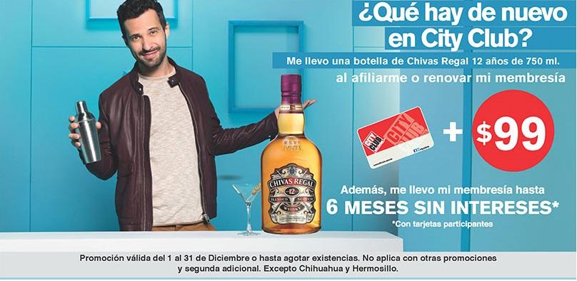 City Club: Afiliar o renovar membresia botella de Chivas Regal 12 años por $99