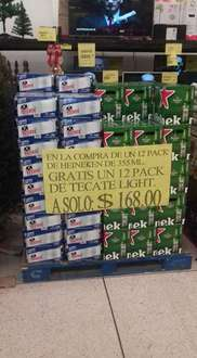 Soriana Plaza Real Cd. del Carmen: 12 pack de Heineken + 12 pack de Tecate light $168