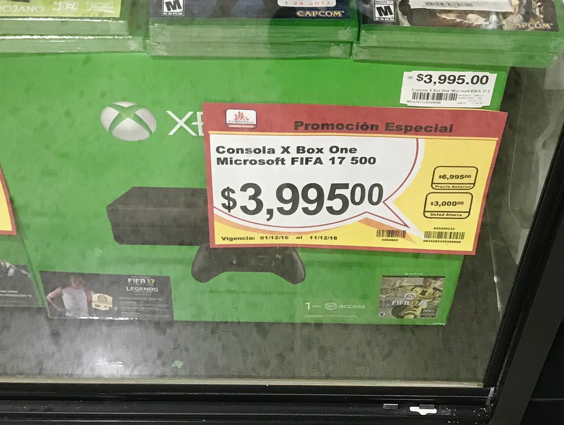 Chedraui: consola Xbox One 500GB con Fifa 17 a $3,995