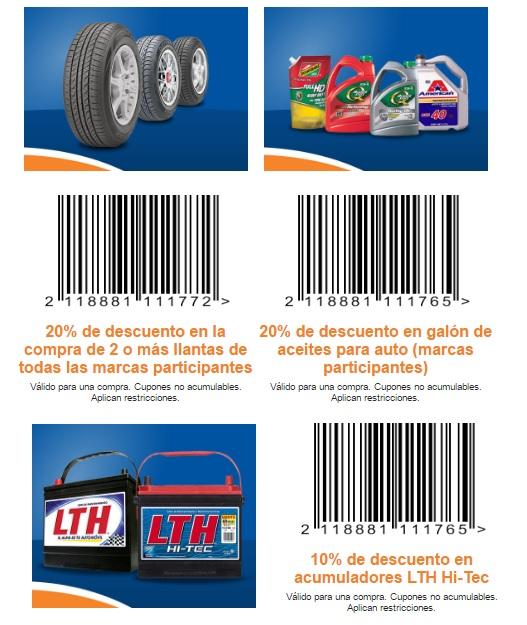 Mi Chedraui: 20% desc. en la compra de 2 o más llantas, 20% desc. en galón de aceites para auto, 10% desc. en acumuladores LTH Hi-Tec