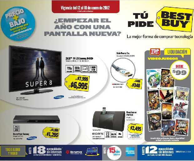 Folleto Best Buy enero 12: Blu-ray Samsung $1,295, tarjeta iTunes gratis con compra de cámra Nikon y más